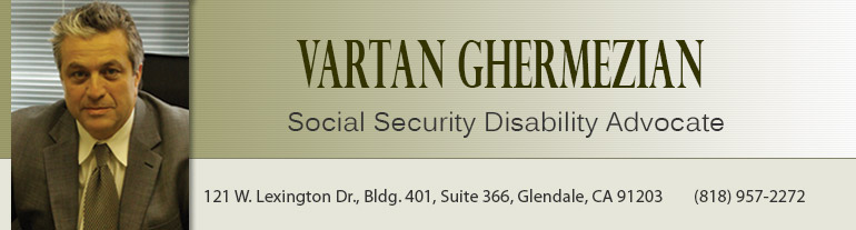 Header for Website with Photo and Info of: Vartan Ghermezian, Social Security Disability Advocate